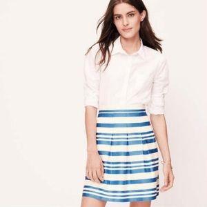 LOFT Shimmer Stripe Pleated Skirt